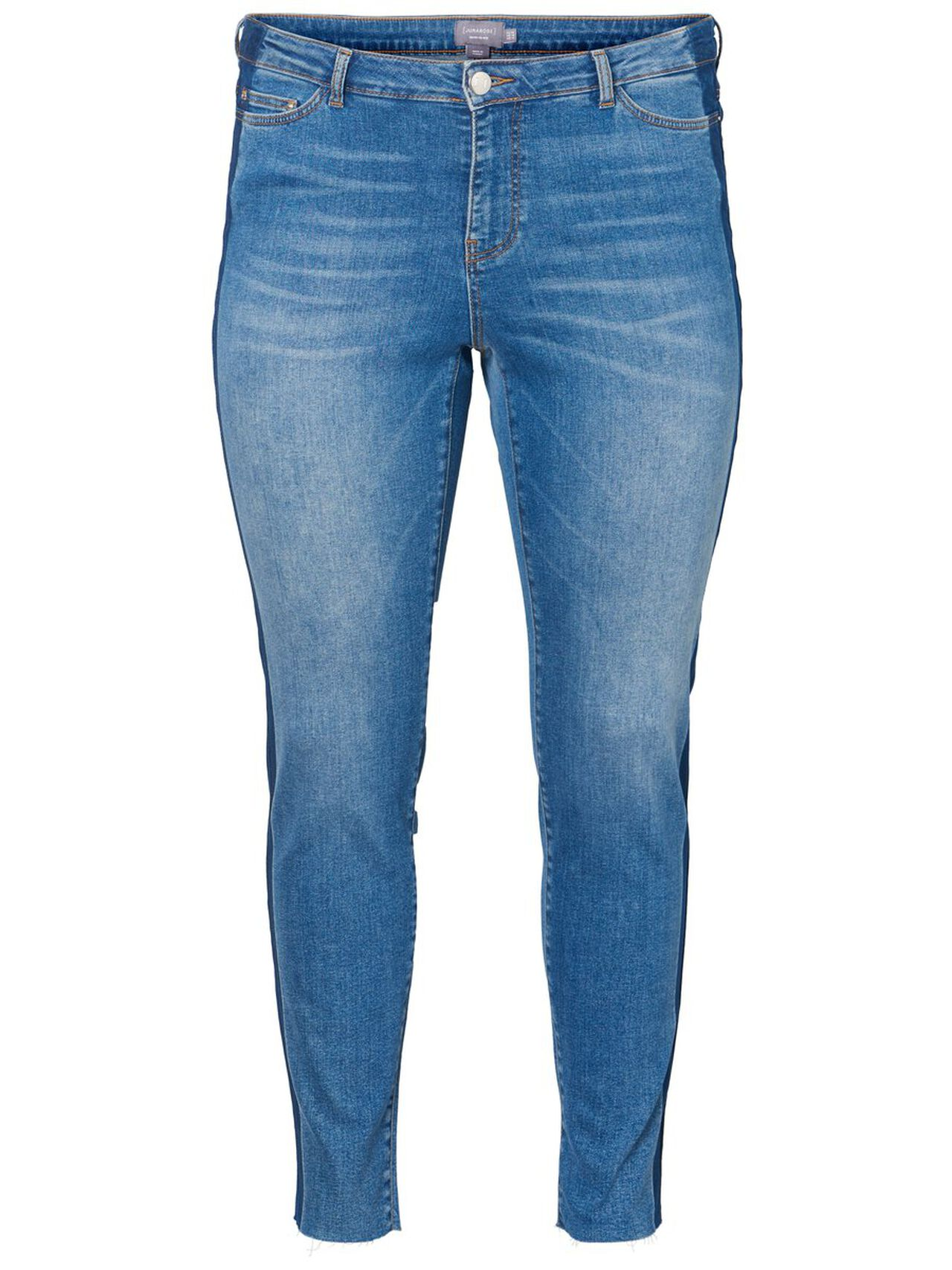 JUNAROSE Cropped Slim Fit Jeans Damen Blau