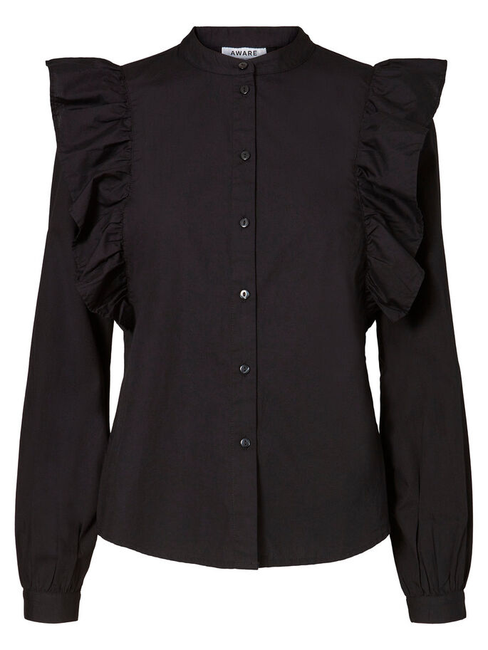 FRILLS SHIRT, Black, large