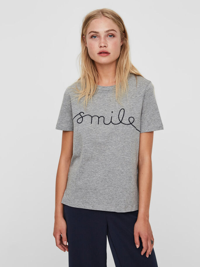 RENTO SMILE T-PAITA, Light Grey Melange, large