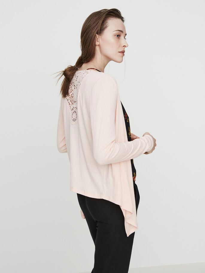 MANCHES LONGUES CARDIGAN, Peach Whip, large