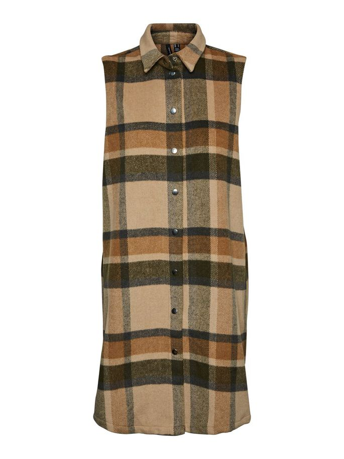 LONG CHECKED VEST, Nomad, large
