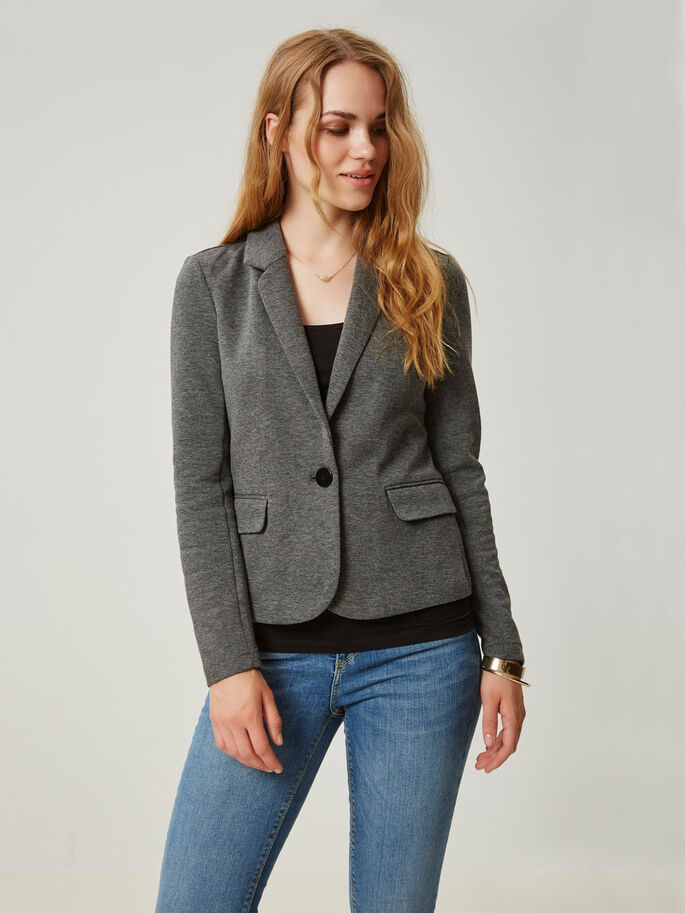 LONG SLEEVED BLAZER, Medium Grey Melange, large