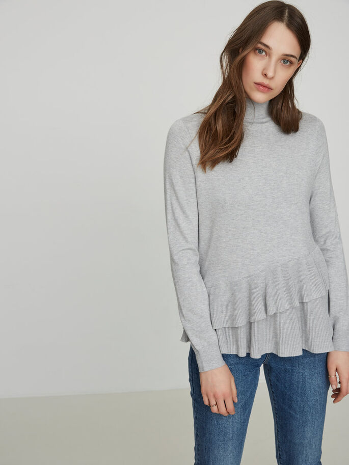 DETAILED KNITTED PULLOVER, Light Grey Melange, large
