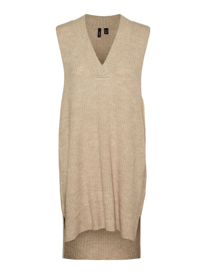 KNITTED VEST, Tan, large