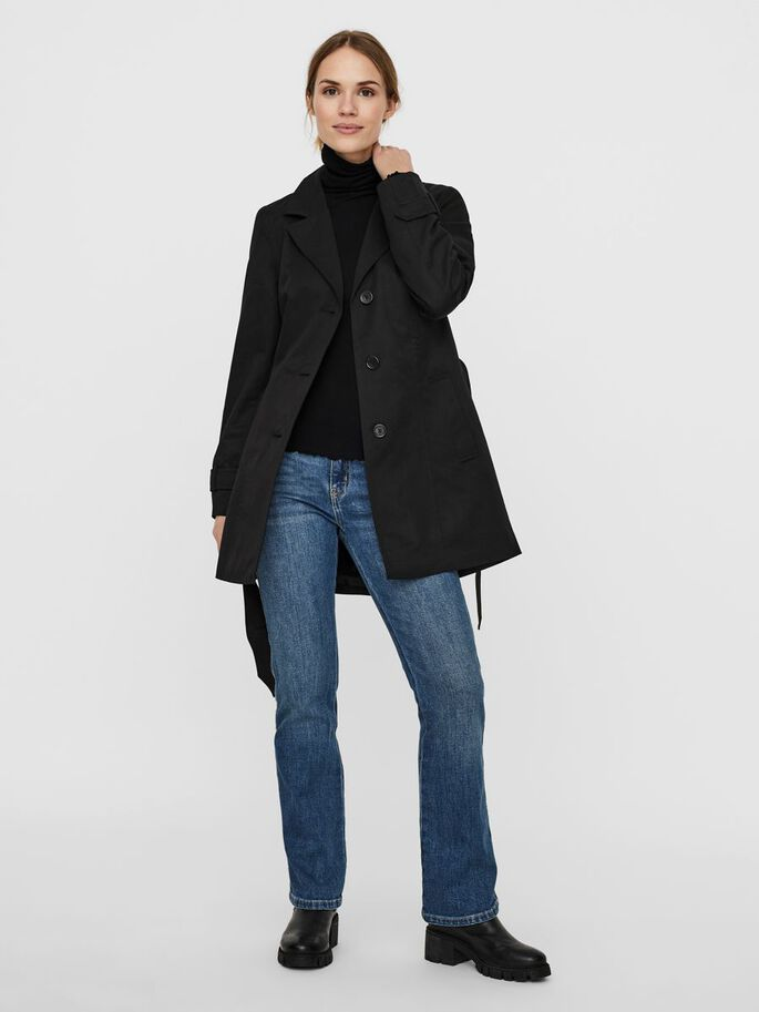 WRAP TRENCHCOAT, Black, large