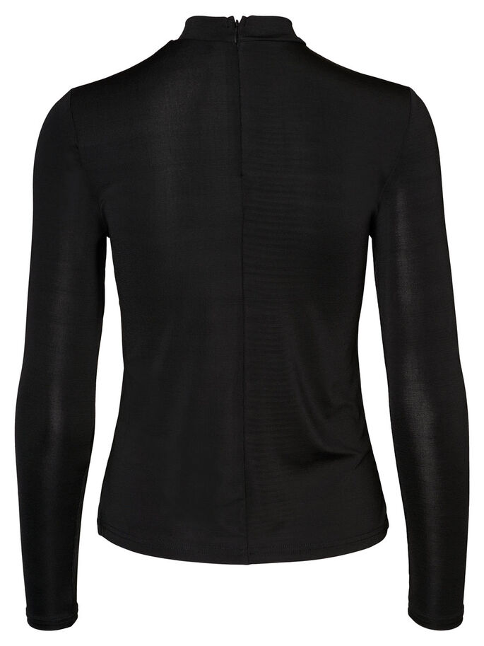 CHOKER LONG SLEEVED BLOUSE, Black, large