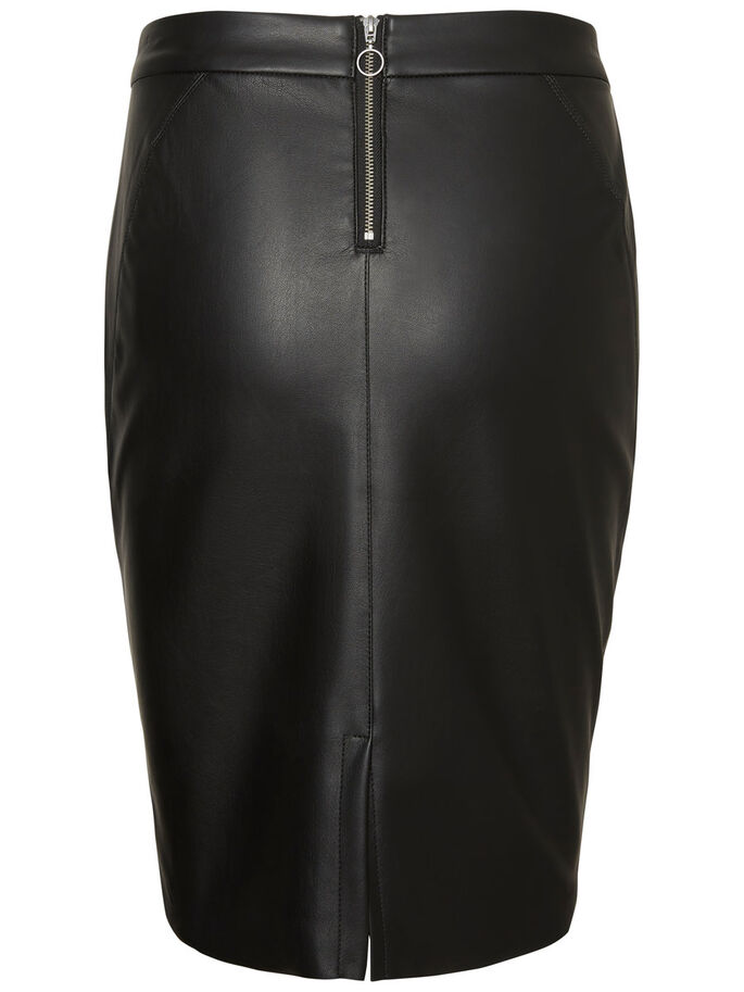 HW LEATHERLOOK ROK, Black, large