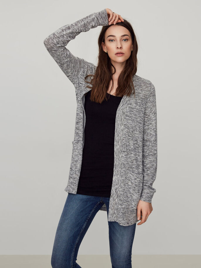 CASUAL KNITTED CARDIGAN, Light Grey Melange, large