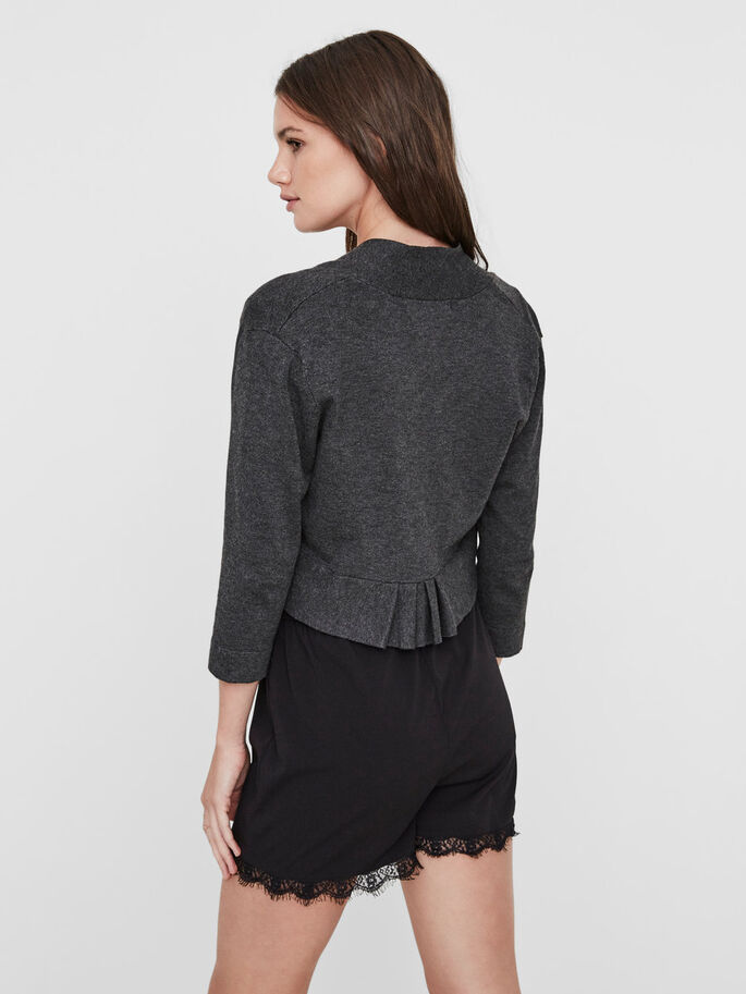 FRILL BOLERO, Dark Grey Melange, large