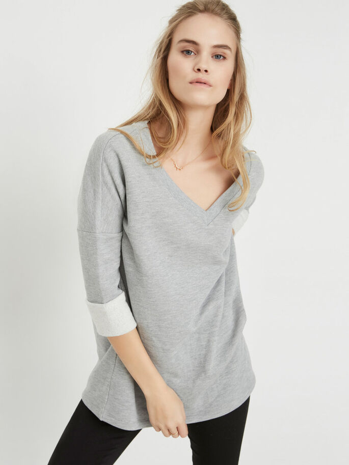 3/4 ERMET SWEATSHIRT, Light Grey Melange, large