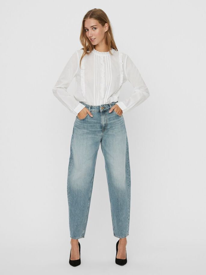 VMIDA HIGH WAIST LOOSE FIT JEANS, Light Blue Denim, large