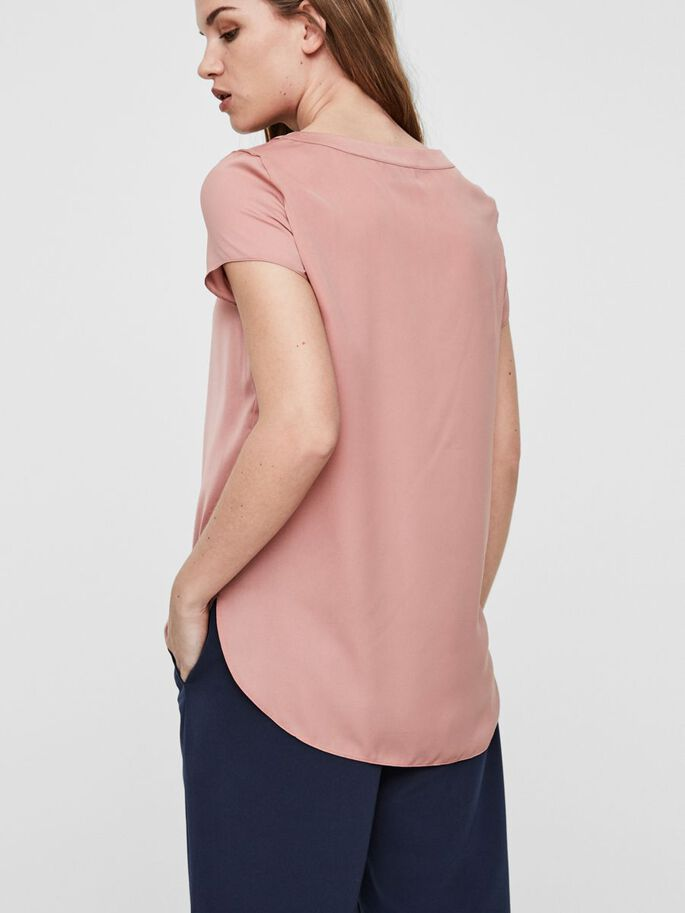 VISCOSE TOP À MANCHES COURTES, Ash Rose, large
