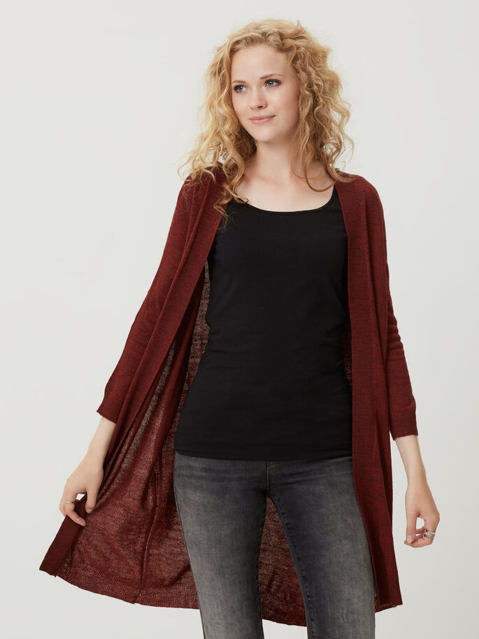 STRIKKET CARDIGAN, Fired Brick, large