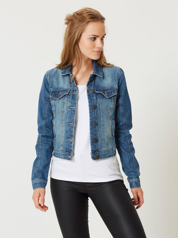 LÅNGÄRMAD JEANSJACKA, Medium Blue Denim, large