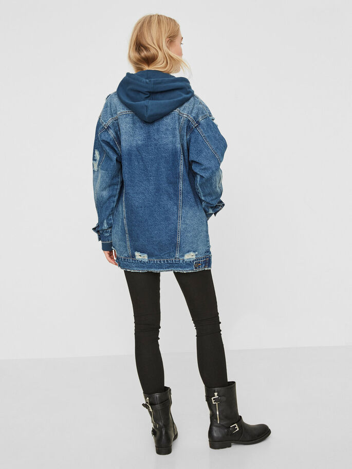 LONG VESTE EN JEAN, Medium Blue Denim, large