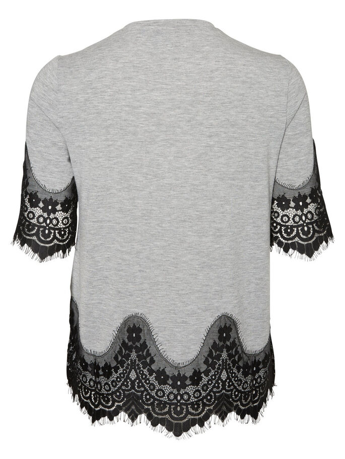 LACE SHORT SLEEVED TOP, Light Grey Melange, large