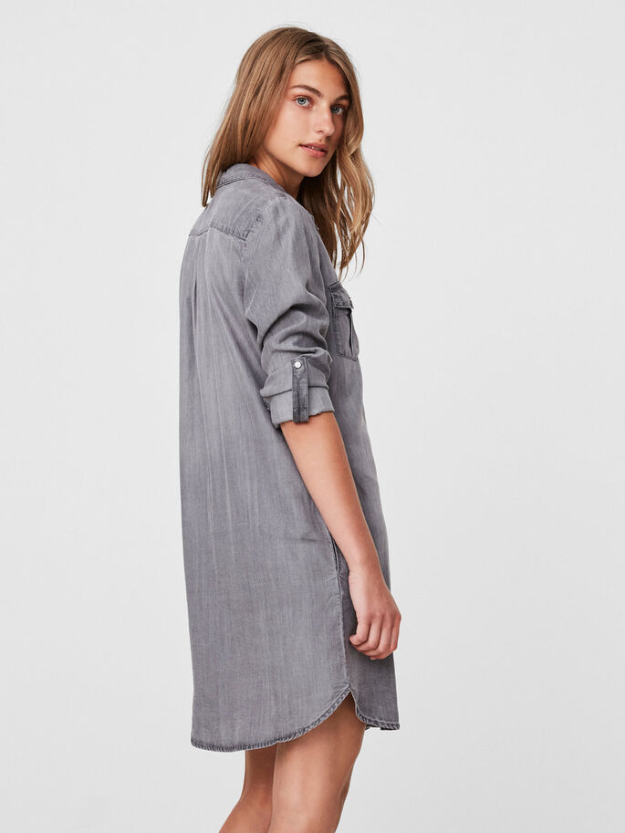 SHIRT DRESS, Light Grey Denim, large