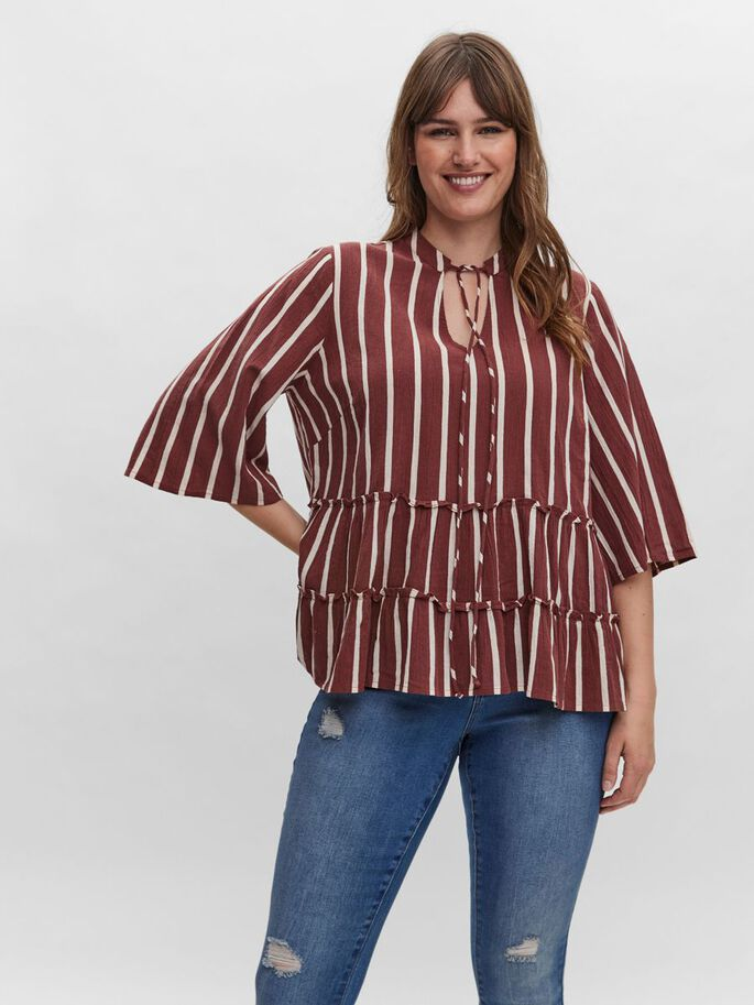 STRIPED 3/4 SLEEVED TOP, Sable, large