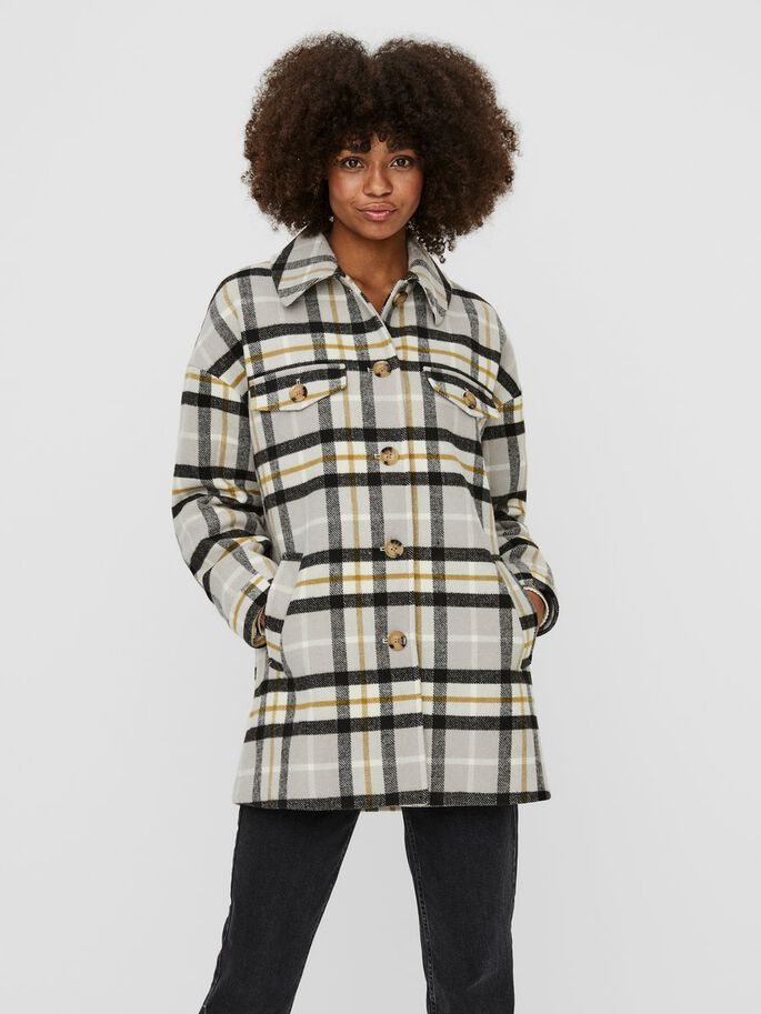 CHEQUERED SHIRT JACKET, Ash, large