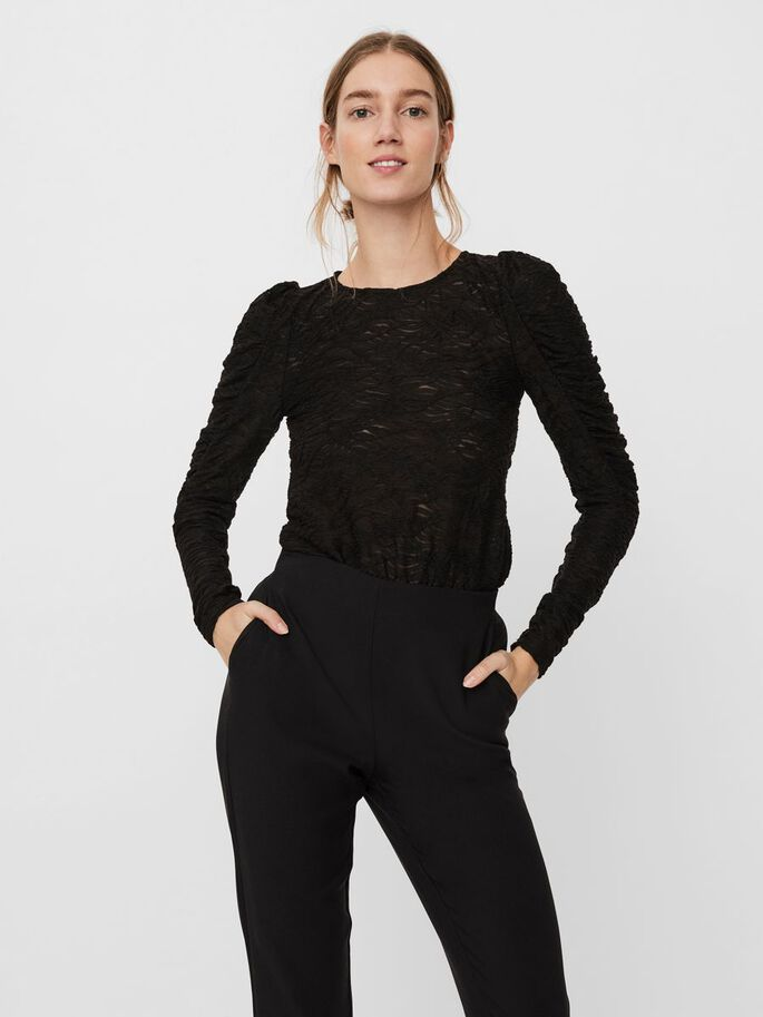 PUFF LONG SLEEVED BLOUSE, Black, large