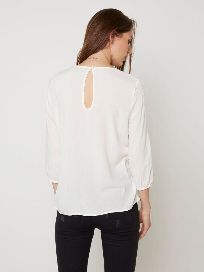 LACE 3/4 SLEEVED TOP, Snow White, large