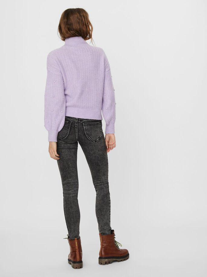 HIGH NECK KNITTED PULLOVER, Pastel Lilac, large