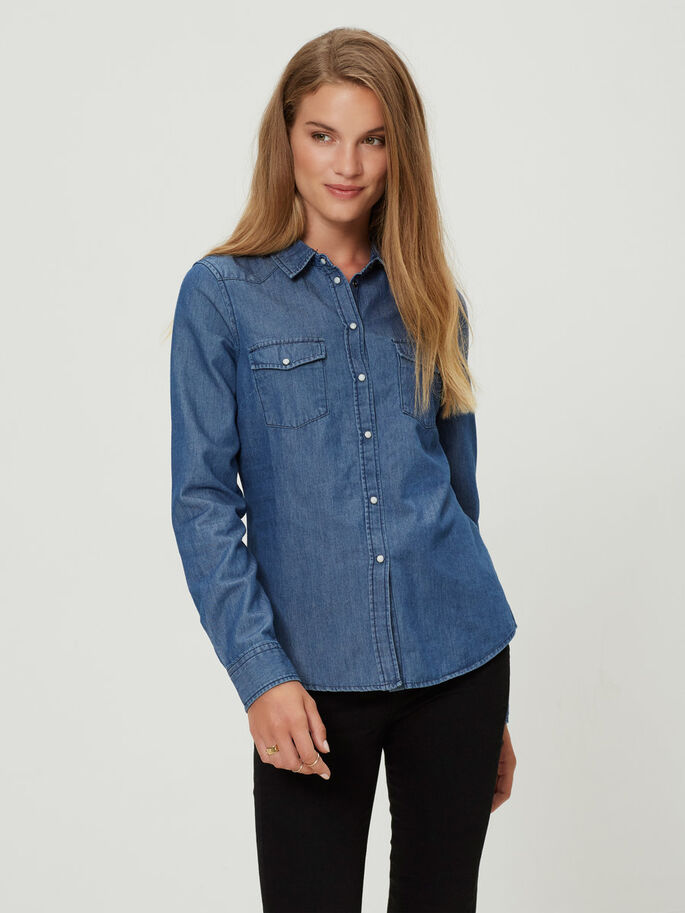 DENIM SKJORTE, Medium Blue Denim, large