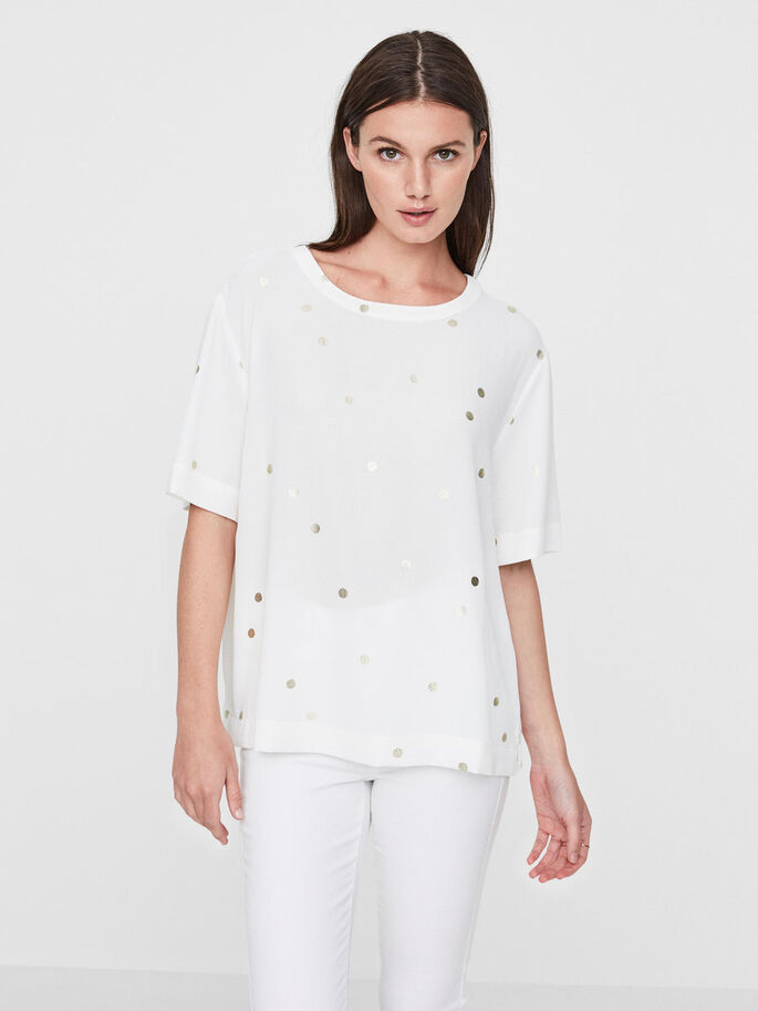 DOTTED SHORT SLEEVED TOP, Snow White, large