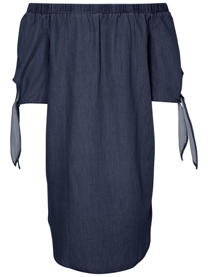 OFF-SHOULDER JURK, Dark Blue Denim, large