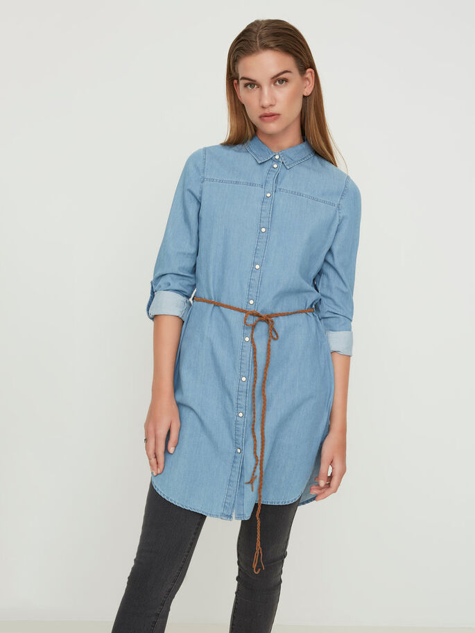 SHIRT- KLEID, Light Blue Denim, large