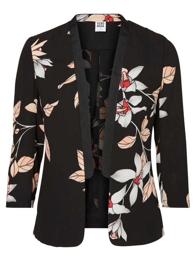 FLOWER BLAZER, Black, large