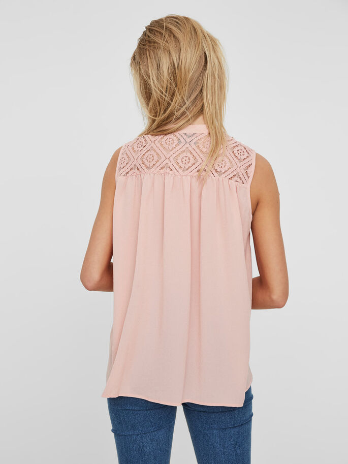 LACE SLEEVELESS SHIRT, Coral Cloud, large