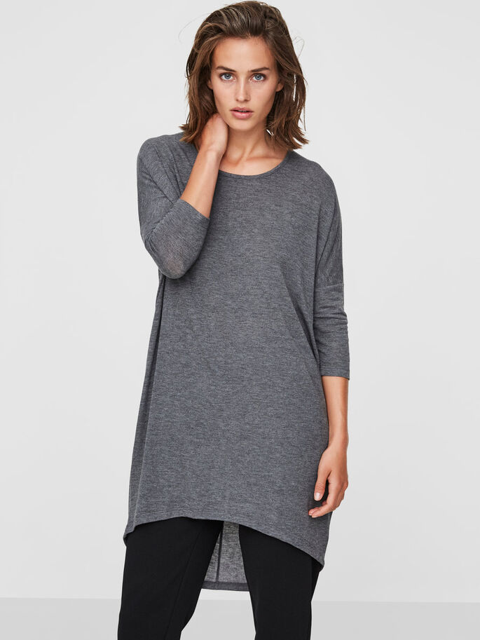 LOOSE FIT SHIRT MET 3/4 MOUWEN, Medium Grey Melange, large