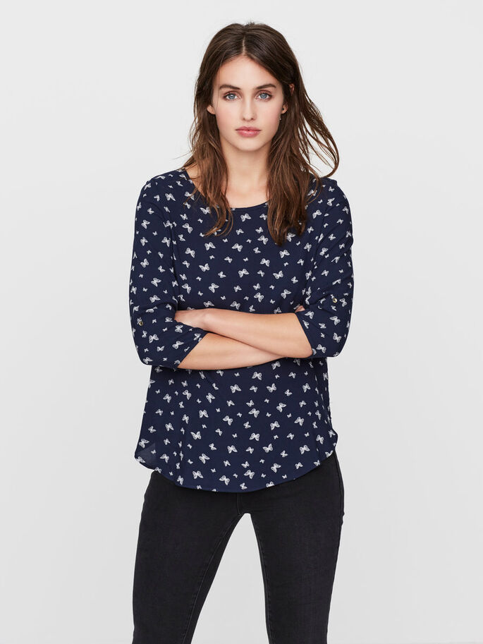 CASUAL BLOUSE MANCHES 3/4, Navy Blazer, large