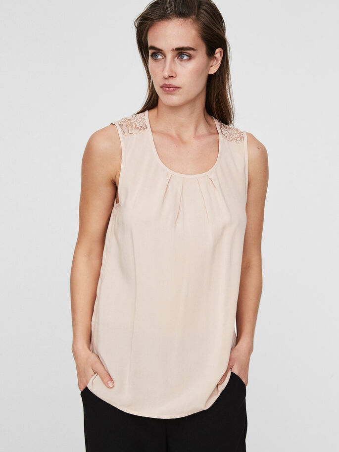 LACE SLEEVELESS TOP, Cameo Rose, large