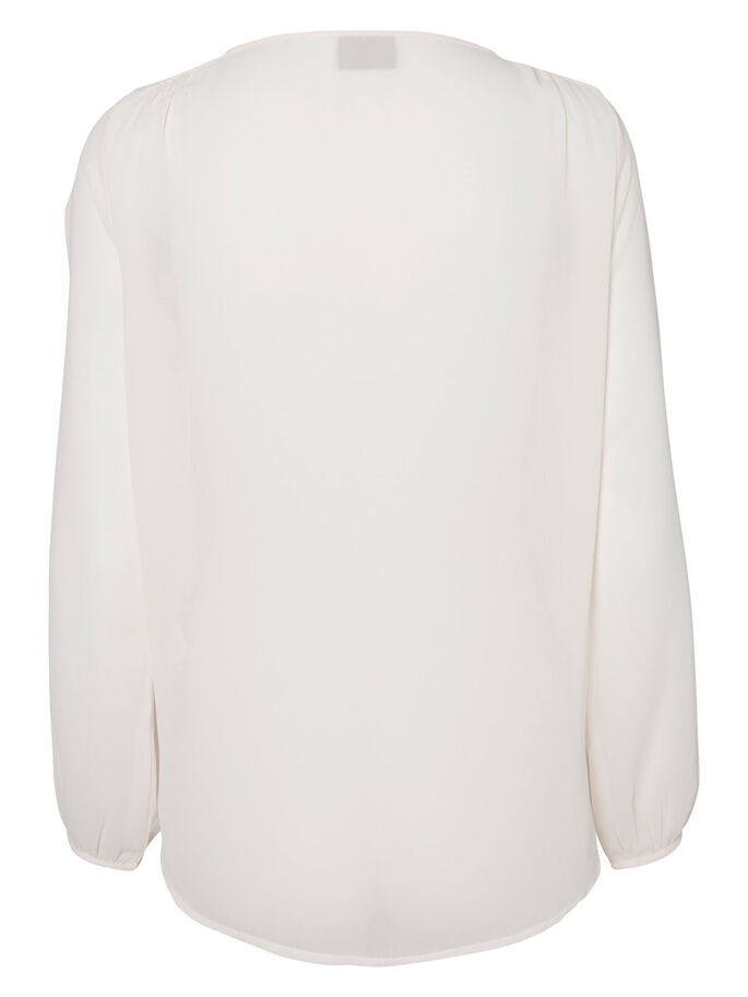 EMBROIDERED LONG SLEEVED BLOUSE, Pearl, large