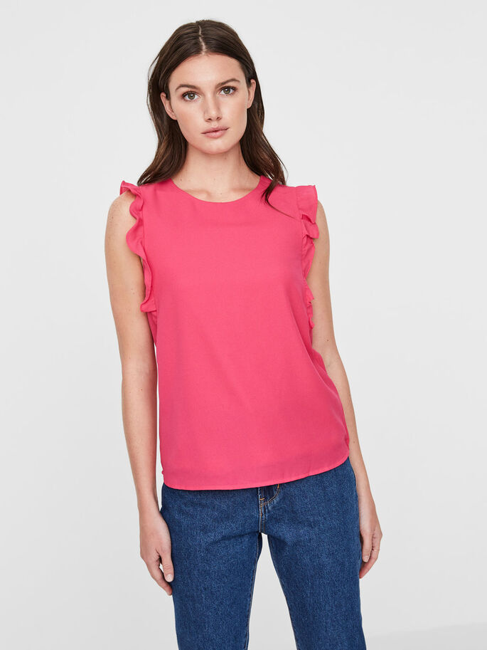 FRILL SLEEVELESS TOP, Beetroot Purple, large