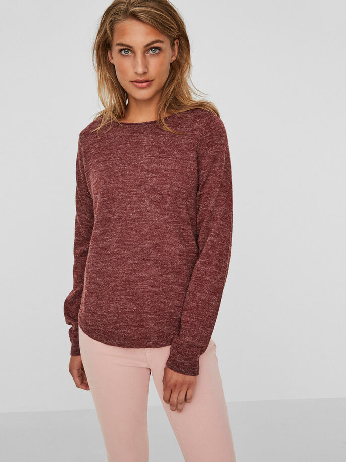 LONG SLEEVED KNITTED PULLOVER, Zinfandel, large