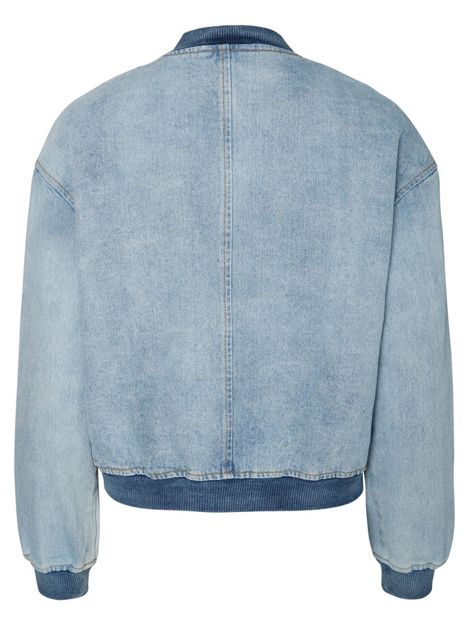 DENIM BOMBER JACKET, Light Blue Denim, large