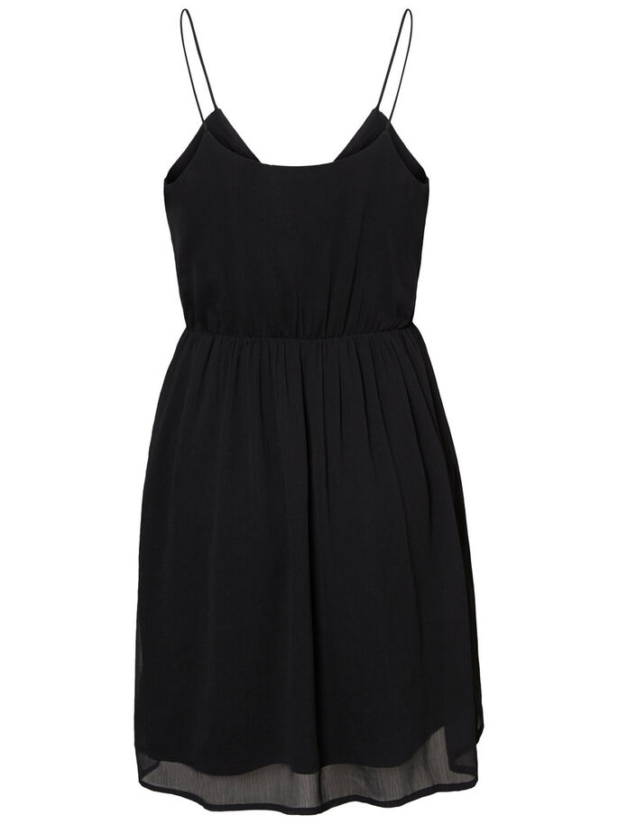 FEMININE SLEEVELESS DRESS, Black, large