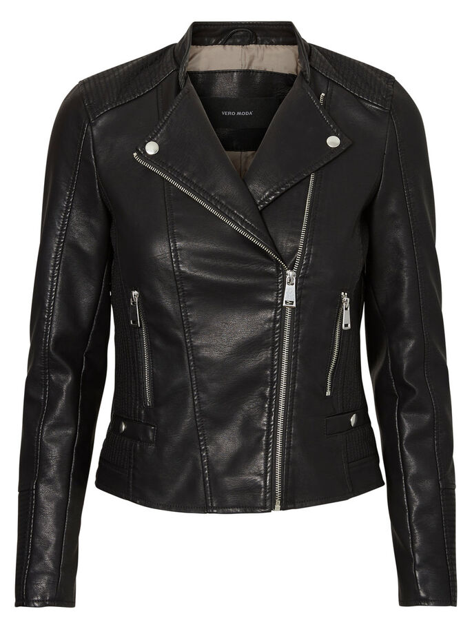 SHORT LEATHER-LOOK JACKET, Black, large