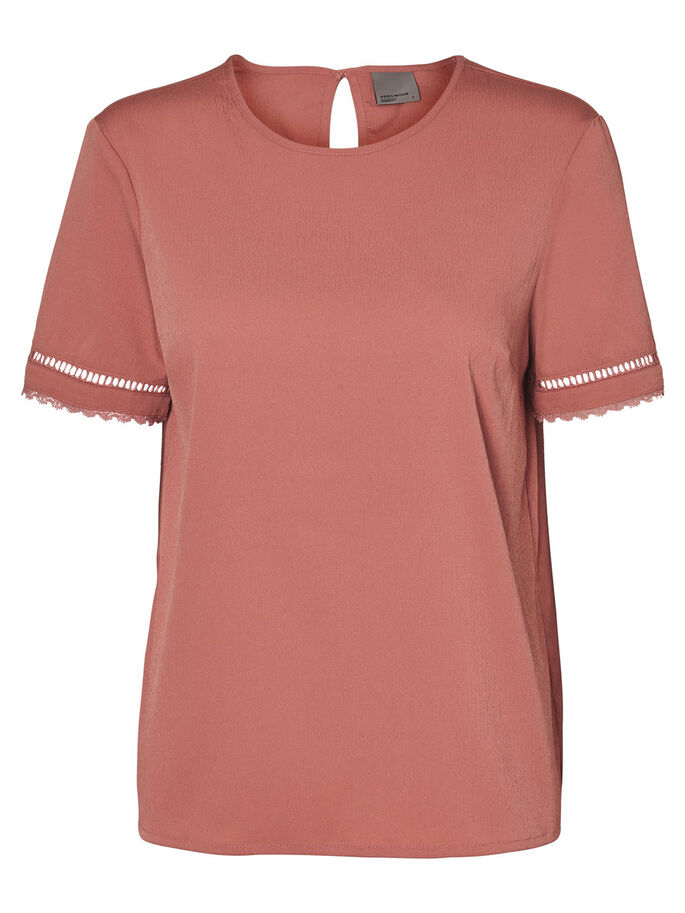 DETAILED SHORT SLEEVED TOP, Cedar Wood, large