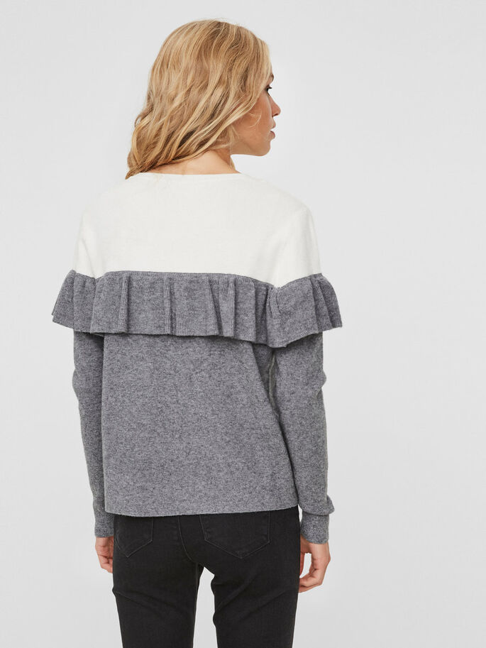 FRILL KNITTED PULLOVER, Snow White, large
