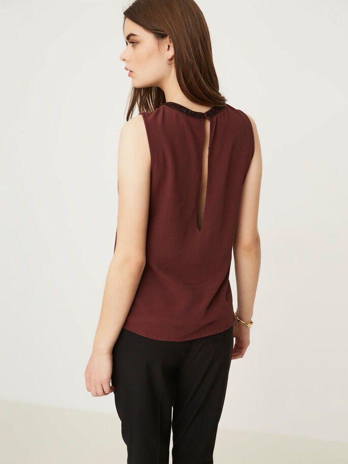 DETAILED SLEEVELESS TOP, Decadent Chocolate, large
