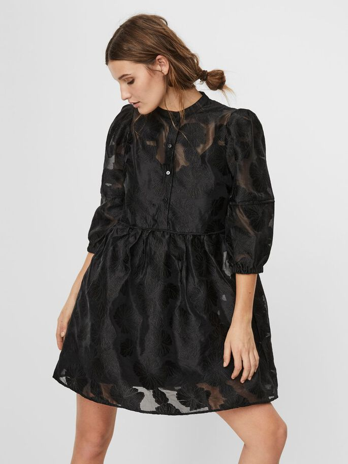 FLORAL LACED MINI DRESS, Black, large