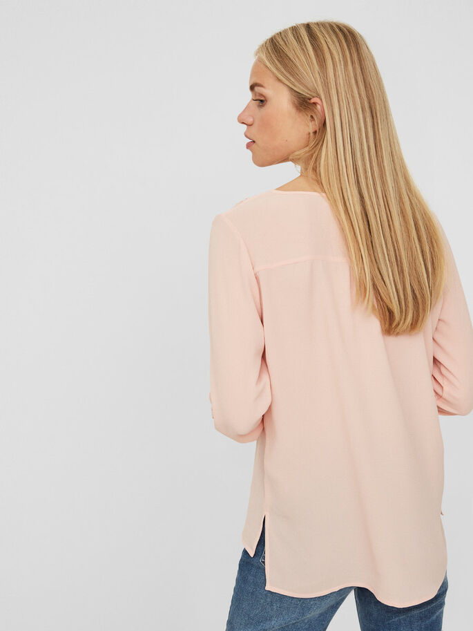 CASUAL 3/4 SLEEVED BLOUSE, Rose Cloud, large