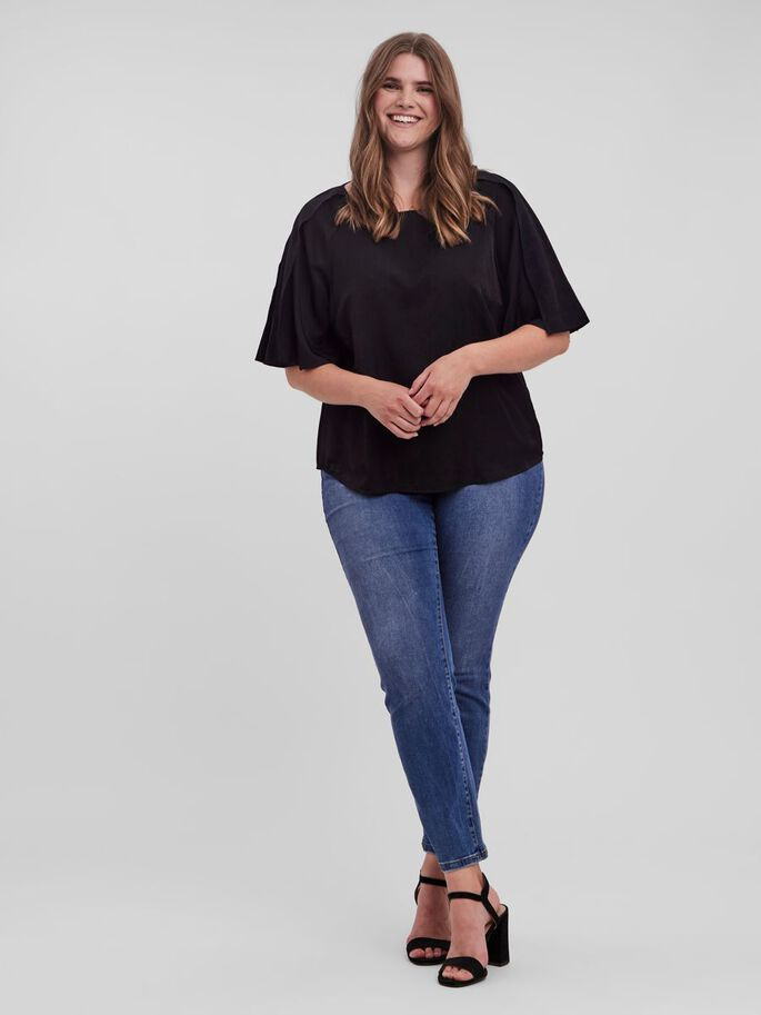 BUTTERFLY SLEEVES TOP, Black, large