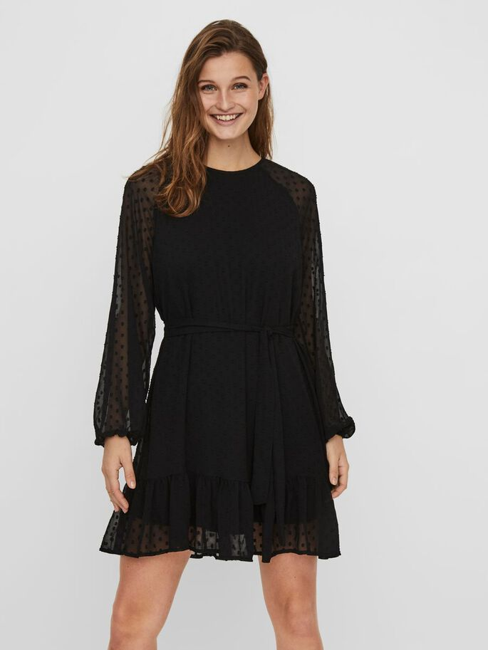 SHEER DOTTED MIDI DRESS, Black, large