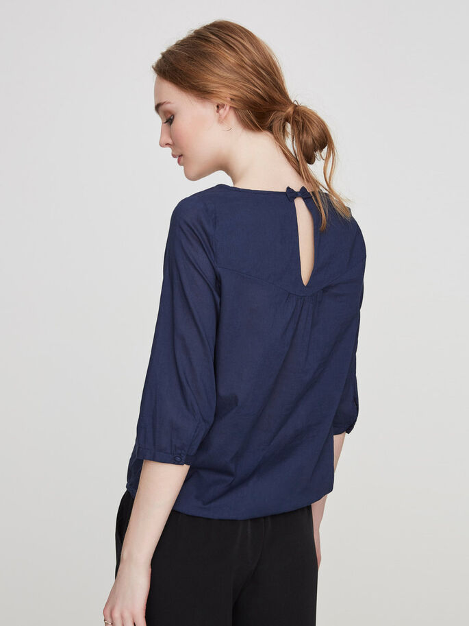 FEMININE 3/4 SLEEVED BLOUSE, Black Iris, large