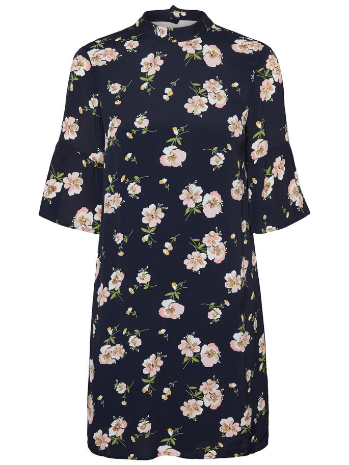 FLOWER SHORT SLEEVED DRESS, Navy Blazer, large